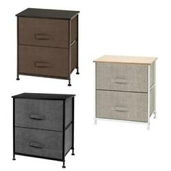 20quot; Fabric 2 Tier Cabinet Bedside Table Storage Metal Frame Organizer Chest Rack