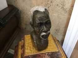 Vintage African Hand Carved Sculpture Bust Old Man / White Beard And White Hair