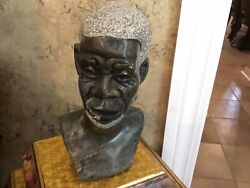 African Sculpture Bust Hand Carved Marble Old Man White Hair And Beard Statue