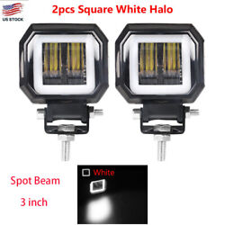 2x 3inch Led Work Light Bar Square Spot Fog Pods White Halo Driving Off Road 4wd