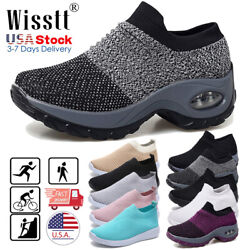 Womens Sport Air Cushion Sneakers Breathable Mesh Walking Slip On Running Shoes