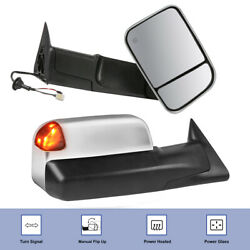 Pair Chrome Power Heated Towing Mirrors For 1998-2002 Dodge Ram W/ Turn Signal