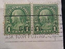 U.s. Stamp 1 Cent Green Ben Franklin X 2 Fancy Cancel On Envelope From K.c.and039