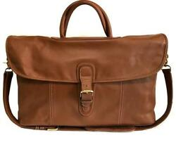 COACH Vintage British Tan Leather LG Flap Duffle Carry On Travel Luggage Gym Bag $529.99