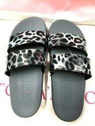 Victoriaand039s Secret Pink Double Straps Slides Sandals Gray Cheetah Nwt