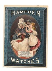 Vintage Trade Card Hampden Watches Alfred Yorgey Reading Pa Old Lady Young Girl