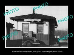 Old Postcard Size Photo Of Germansville Pennsylvania The Railroad Station 1940