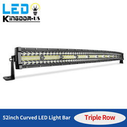 52 Inch 1250w Curved Led Light Bar Tri-row Driving Off-road Combo Drl Fog 54