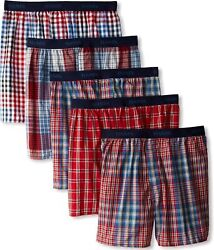 Hanes Ultimate Menand039s 5-pack Yarn Dye Exposed Waistband Boxer-colors May Vary