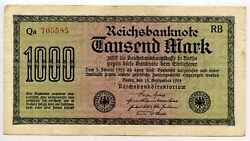 Germany 1922 Thousand 1000 Mark P 76c Watermark F No Star In Serial