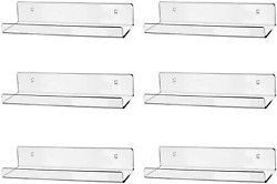 15 Clear Acrylic Floating Wall Ledge Shelf Wall Mounted Nursery Kids Bookshelf