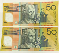 Australia 1999 2 X 50.00 First And Last Prefix , Aa 99 And Pe 99 Scarce And Unc