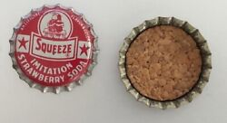 3 Vintage Old Cork Lined Squeeze Strawberry Soda Bottle Caps Unused Nos 1950s