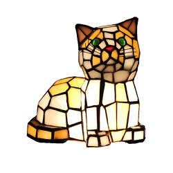 Stained Glass Kitten Cat Table Lamp Night Lighting Home Decoration Gifts