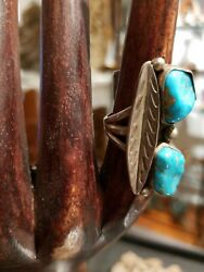 Navajo Twin Gem Blue Turquoise Silver Ring Sz6.5 Old Southwestern Native America