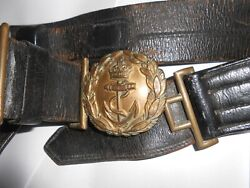Ww1 Vintage Royal Navy Leather Belt With Sword Hangers