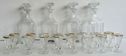 Set Of 20 Pc Of Antique Glass Inserts For Tantalus Liquor Cabinet