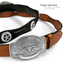 State Of Texas Longhorn Western Style Genuine Leather Cowboy Conchos Belt