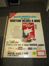 Dr Seuss Nabisco 1970 CBS TV show cookies store display sign Horton Hears a Who