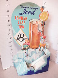 SALADA TENDER LEAF ICED TEA 1936 grocery store display sign elf gremlin ice cube