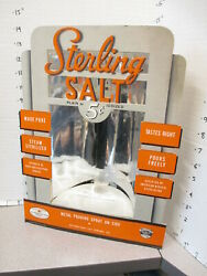 STERLING SALT iodized foil deco 1930s cardboard grocery store display sign