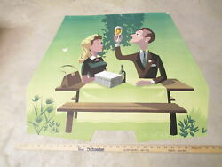 CARLSBERG beer 1950s Denmark store display sign poster PICNIC COUPLE toasting #4