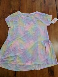 Wonder Nation 10 12 Large girls relaxed fit pastel Tunic Full Top rainbow NWT $9.99