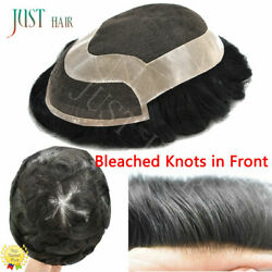 Human Hair Mens Hairpieces Toupee Hair Replacement System Lace Poly Skin Wigs Us