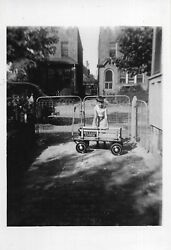 4 Vintage Photos Kids Boy Girl Red Racer Express Pull Wagon