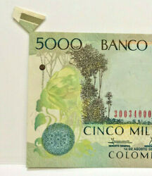 Colombia 2010 5000 Pesos  Error Extra Flap From The Mint Rare And Unc