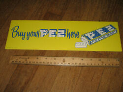 PEZ store display sign 1950s-60s YELLOW peppermint candy pack BUY YOUR PEZ HERE