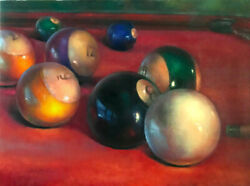 Behind the Eight Ball  30x40 in. Original Oil on canvas  HALL GROAT II