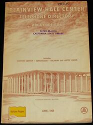 1965 Texas Telephone Directory, Plainview-hale Center, Are Code 806
