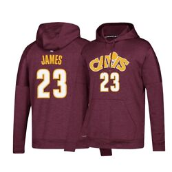 Lebron James Adidas Cleveland Cavaliers Maroon Men's Climawarm Pullover Hoodie