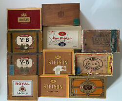 Vintage And Antique Mixed Lot Of 11 Cigar Boxes