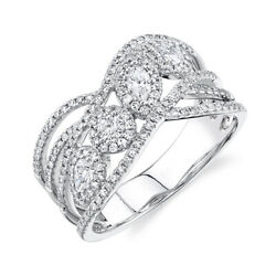 Marquise Pear Round Cut Diamond Cocktail Ring Crossover Multi Open Band Womens