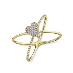 14k Yellow Gold Diamond Heart X Ring Crossover Cocktail Womens Natural Round Cut