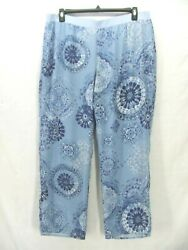 Coldwater Creek 1x Dusty Blue Multi Sheer Chiffon Lined Pull-on Pantsnwt 89pp