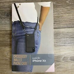Fellowes iPhone XR Crossbody Wallet Phone Case with Strap Black New in Box $12.99
