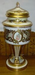 Antique Royal Vienna Porcelain Urn W/ Paw Feet - As Is Hairlines And 1 Chip