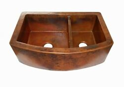 36 Rounded Apron Front Farmhouse Kitchen Mexican Copper Sink Low Divide 60/40