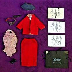 Vintage Barbie Busy Gal Outfit Nm/ac Glasses Navy Shoes Belt 1 Repro Sketch Bin