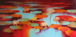 Indian Hand Painted Waterlilies Oil Painted On Canvas Painting Wall Decor Art