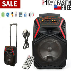 8quot; Portable FM Bluetooth Speaker Subwoofer Heavy Bass Sound System Party 1000W