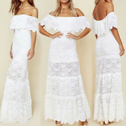 White Dress Summer Beach Sundress Ruffle Women Lace Off Shoulder Maxi Evening $19.49