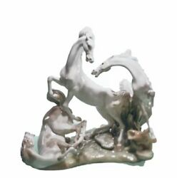 Lladro 1022 Large, Group Of Horses,2,950 Value
