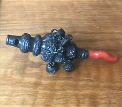 19th Century Sterling Silver And Natural Coral Baby Rattle Whistle Teething Rare