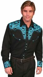 Scully Men's Crimson Floral Embroidery Retro Western Shirt Big And Tall - P-634c
