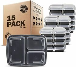 15 Pack Meal Prep Containers 3 Compartment With Lids Food Container Bento Box