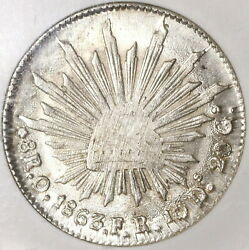 1863-o Ngc Ms 62 Mexico 8 Reales Oaxaca Mint Scarce Silver Coin 20070401c